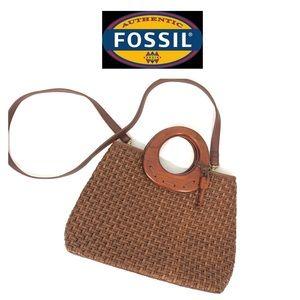 Fossil Round Handle Straw Crossbody Bag Purse